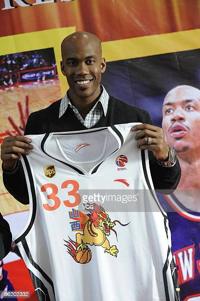 Former NBA Star Stephon Marbury attends a press conference to sign with Shanzi Zhongyu of CBA on January 27 2010 in Taiyuan Shanxi Province of China