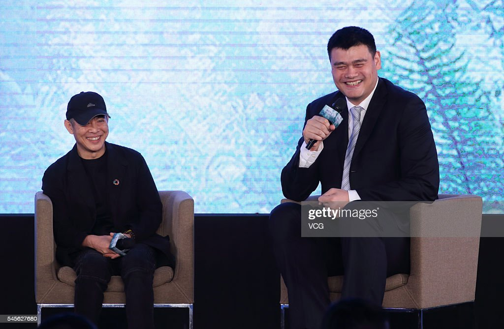 Former NBA star Yao Ming (R) and Chinese actor Jet Li attend the first global philanthropy conference on July 9, 2016 in Hangzhou, Zhejiang Province of China. About 1,000 attendees, including nonprofits, NGOs and social entrepreneurs, are expected in the e-commerce giant's home base of Hangzhou for the inaugural Xin Philanthropy Conference. Co-organized by Alibaba Group and Hangzhou People's Governement, the conference emphasizes the need to 'give back' while underscoring the importance of grassroots change. As reported by Alizila (news subsidiary of Alibaba Group), this conference will bring 'together pioneering Chinese benefactors and global thought leaders to discuss social responsibility in the world's second-largest economy.'
