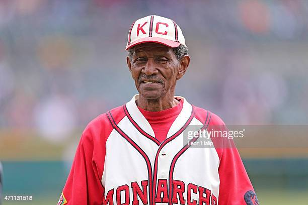 Former Negro League Baseball Player Jake Sanders is honored prior to the start of the game between the Cleveland Indians and the Detroit Tigers on...