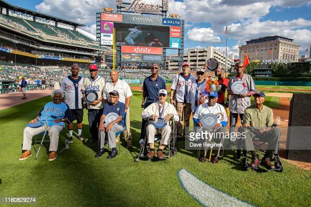 Former Negro League Players are honored before a MLB game between the Detroit Tigers and the Kansas City Royals at Comerica Park on August 10 2019 in...