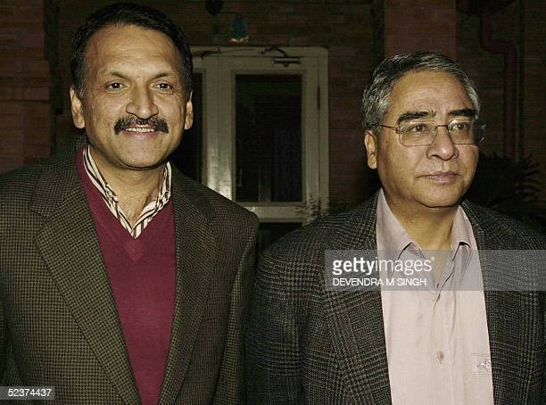 Former Nepalese Prime Minister and President of the Nepali Congress Democratic party Sher Bahadur Deuba and former cabinet colleague and state...