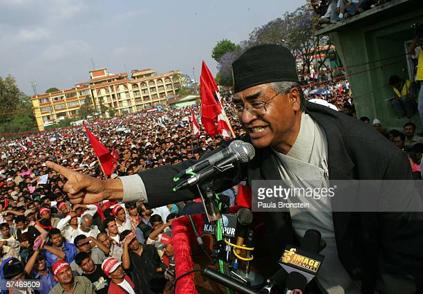 Former Nepalese Prime Minister Sher Bahadur Deuba addresses activists at a prodemocracy rally April 27 2006 in Kathmandu Nepal Tens of thousands...