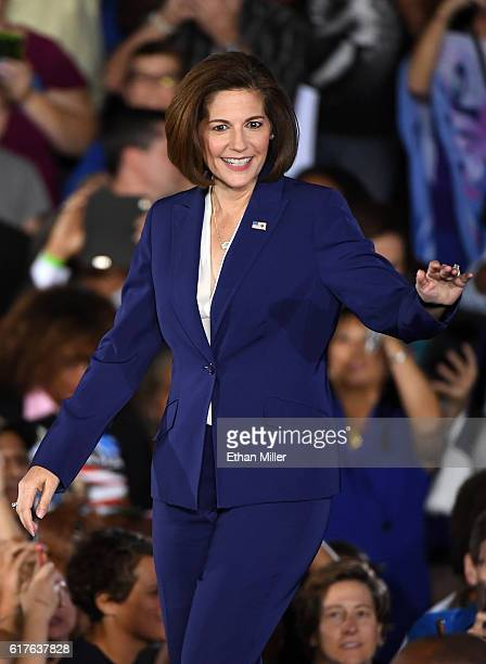 Former Nevada Attorney General and Democratic US Senate candidate Catherine Cortez Masto arrives at a campaign rally with US President Barack Obama...