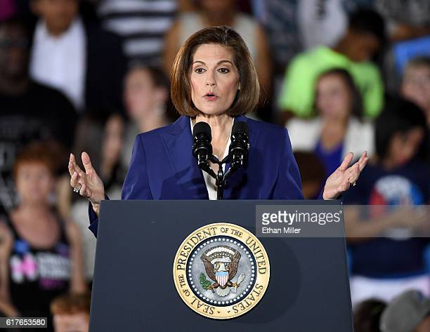 Former Nevada Attorney General and Democratic US Senate candidate Catherine Cortez Masto speaks at a campaign rally with US President Barack Obama...