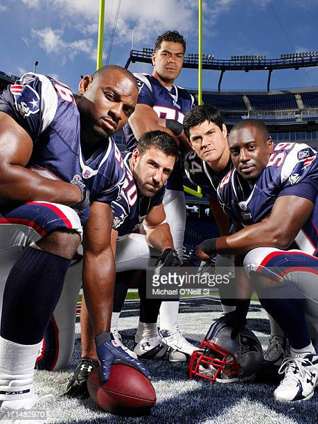 Former New England Patriots linebackers Adalius Thomas Mike Vrabel Junior Seau Tedy Bruschi and Rosevelt Colvin are photographed for Sports...