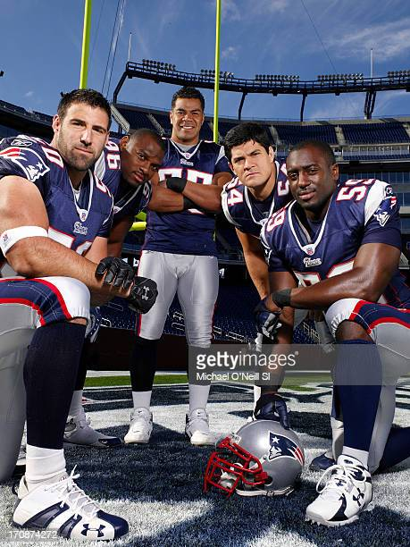 Former New England Patriots linebackers Mike Vrabel Adalius Thomas Junior Seau Tedy Bruschi and Rosevelt Colvin are photographed for Sports...