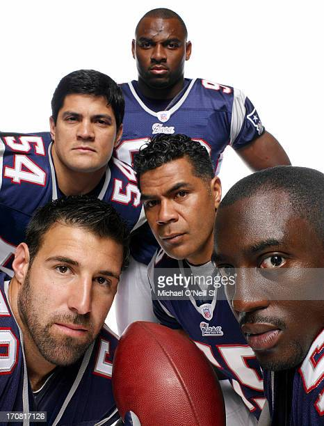 Former New England Patriots linebackers Mike Vrabel Tedy Bruschi Adalius Thomas Junior Seau and Rosevelt Colvin are photographed for Sports...