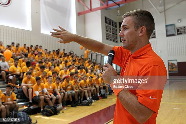 Former New England Revolution player Taylor Twellman speaks to GrotonDunstable High School athletes as a kick off to the MIAA's Concussion Awareness...