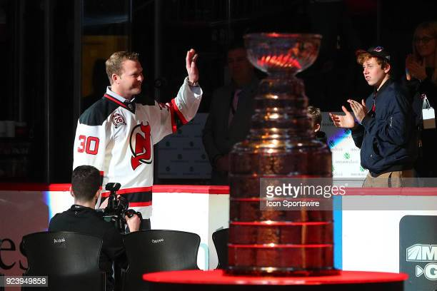 Former New Jersey Devil Martin Brodeur is introduced during Patrik Elias Jersey Retirement Night prior to the National Hockey League Game between the...