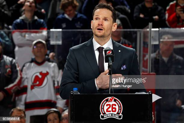 Former New Jersey Devil Patrik Elias speaks during his jersey retirement ceremony prior to a game against the New York Islanders at the Prudential...