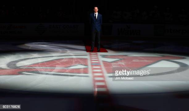 Former New Jersey Devil Patrik Elias waits to drop the ceremonial first puck priot to a game between the Devils and the Minnesota Wild on February 22...
