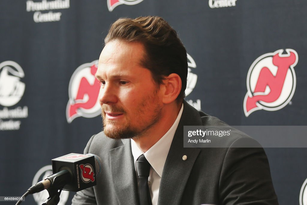 Former New Jersey Devils forward Patrik Elias addresses the media after announcing his retirement from the NHL prior to the game against the Philadelphia Flyers at Prudential Center on April 4, 2017 in Newark, New Jersey.
