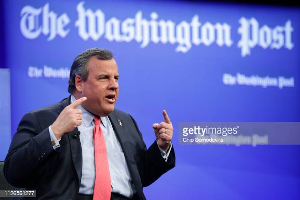 Former New Jersey Governor Chris Christie participates in a discussion about his new book at the Washington Post January 31 2019 in Washington DC In...