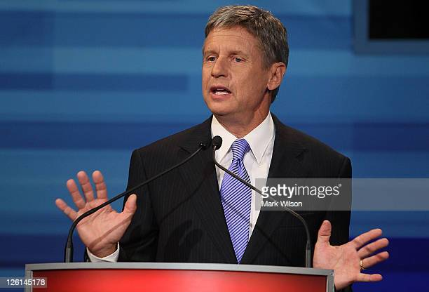 Former New Mexico Gov. Gary Johnson speaks in the Fox News/Google GOP Debate at the Orange County Convention Center on September 22, 2011 in Orlando,...