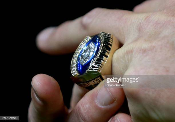Former New Orleans Saints kicker Morten Andersen stands on the field as he receives his pro football hall of fame ring during a NFL game at the...