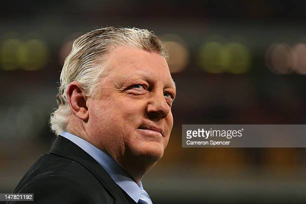 Former New South Wales coach Phil Gould looks on during game three of the 2012 State of Origin series between the Queensland Maroons and the New...