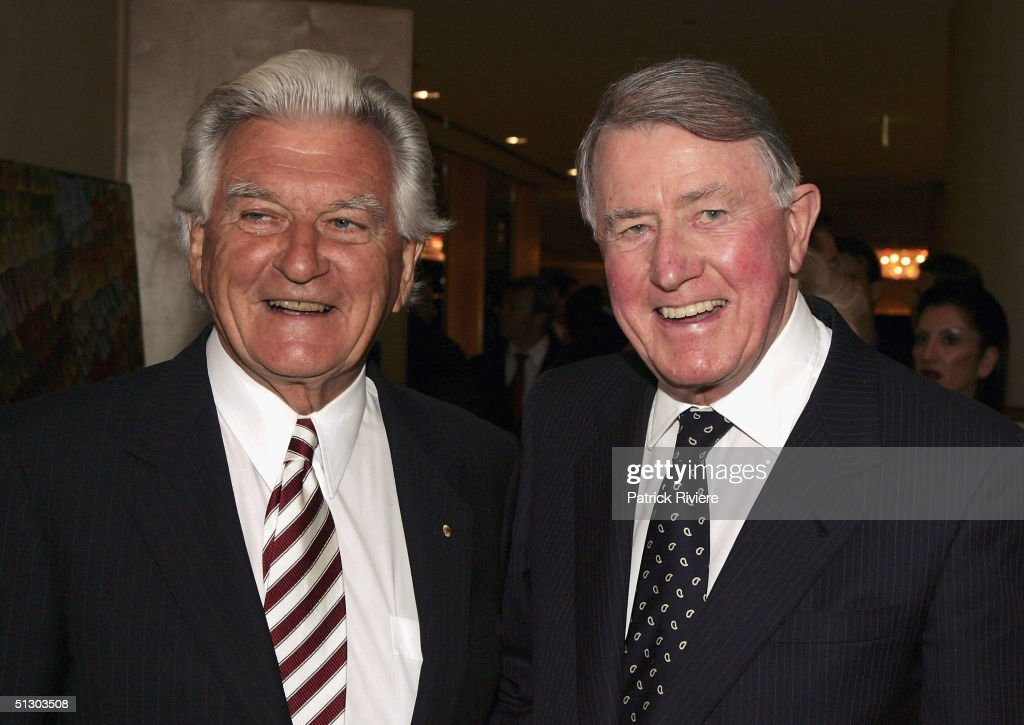 Former New South Wales Premier Neville Wran and former Australian Prime Minister Bob Hawke attend the 'Life Education Australia' 25th anniversary on September 14, 2004 at the Sofitel Wentworth Hotel, in Sydney, Australia.