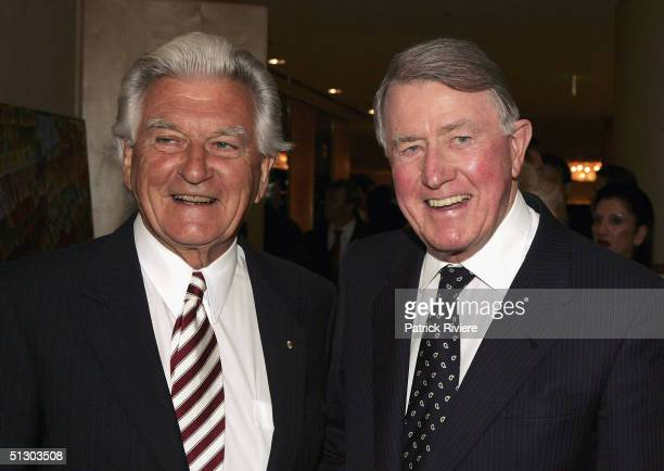 Former New South Wales Premier Neville Wran and former Australian Prime Minister Bob Hawke attend the 'Life Education Australia' 25th anniversary on...