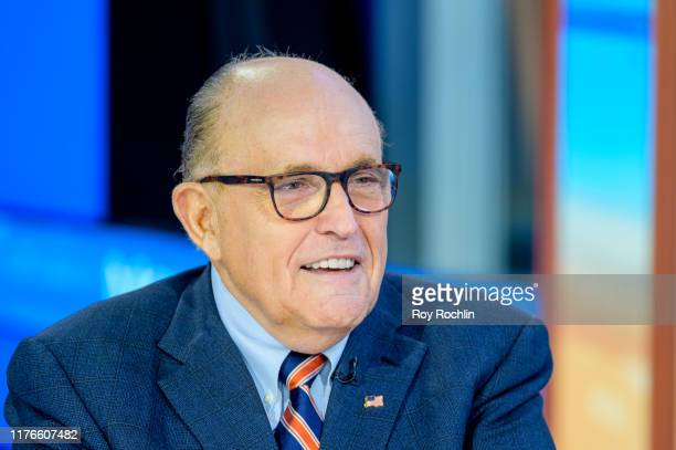 Former New York City Mayor and attorney to President Donald Trump Rudy Giuliani visits Mornings With Maria with anchor Maria Bartiromo at Fox...