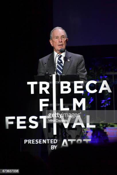 """Former New York City Mayor and CEO of Bloomberg L.P., Michael Bloomberg speaks after the screening of """"From the Ashes"""" Premiere - 2017 Tribeca Film..."""