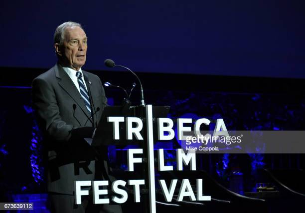 Former New York City Mayor and CEO of Bloomberg LP Michael Bloomberg speaks after the screening of 'From the Ashes' Premiere 2017 Tribeca Film...