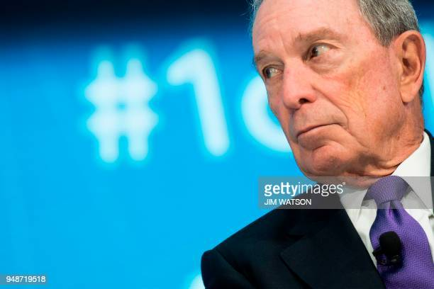 Former New York City Mayor and founder of Bloomberg Philanthropies Mike Bloomberg speaks with IMF Managing Director Christine Lagarde during the The...