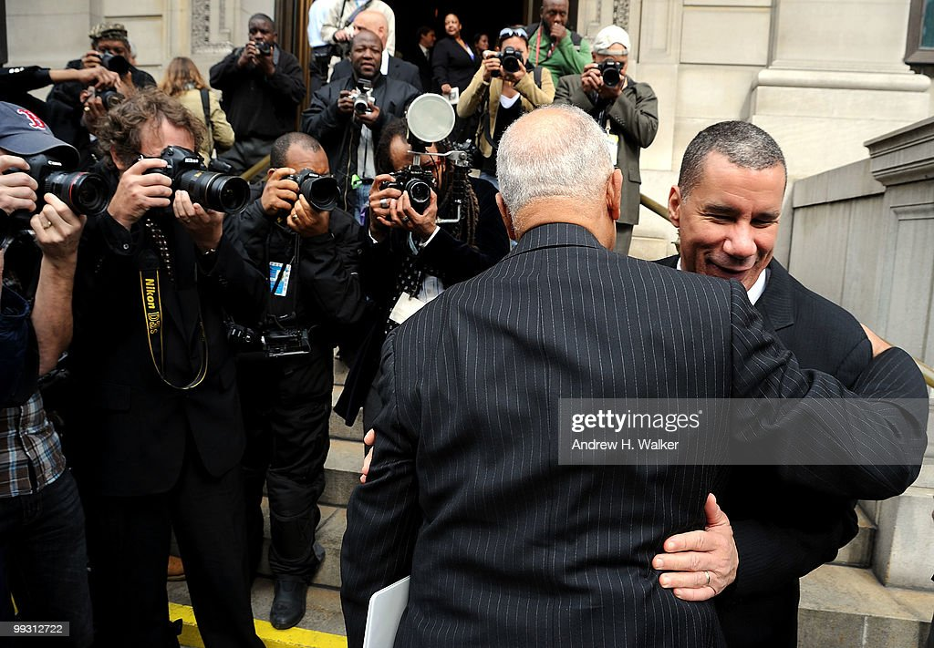 Former New York City mayor David Dinkins and New York State governor David Patterson (R) greet each other at the funeral services for entertainer Lena Horne at St. Ignatius Loyola Church on May 14, 2010 in New York City.
