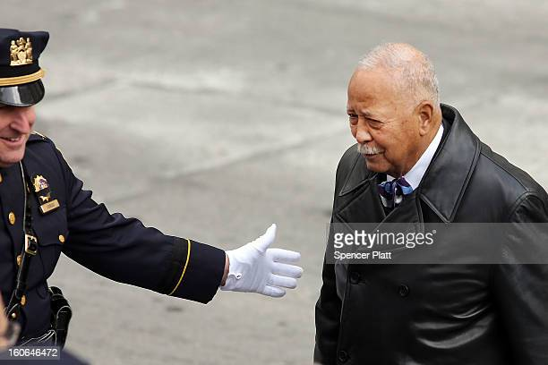 Former New York City Mayor David Dinkins attends funeral services for former New York Mayor Ed Koch at Manhattan's Temple EmanuEl on February 4 2013...