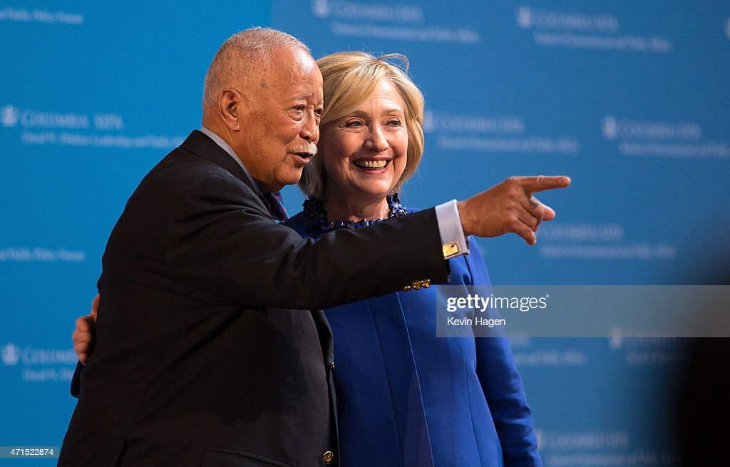 Former New York City Mayor David Dinkins speaks with Democratic presidential hopeful and former Secretary of State Hillary Clinton during the David N. Dinkins Leadership and Public Policy Forum at Columbia University April 29, 2015 in New York City. Clinton addressed the unrest in Baltimore and called for police body cameras and a reform to sentencing.