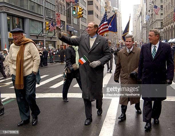 Former New York City Mayor Ed Koch left and New York Governor George E Pataki