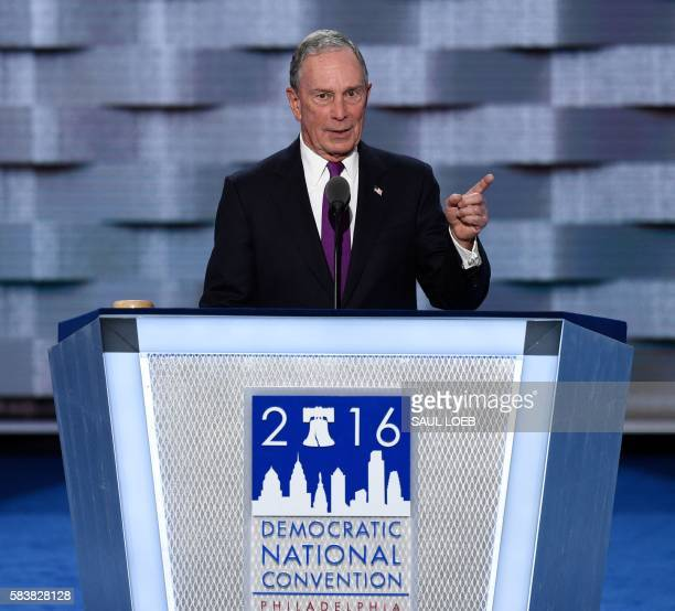 Former New York City mayor Michael Bloomberg addresses the third evening session of the Democratic National Convention at the Wells Fargo Center in...
