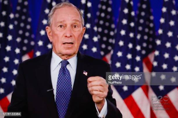 Former New York City Mayor Michael Bloomberg addresses the virtual 2020 Democratic National Convention, livestreamed online and viewed by laptop from...