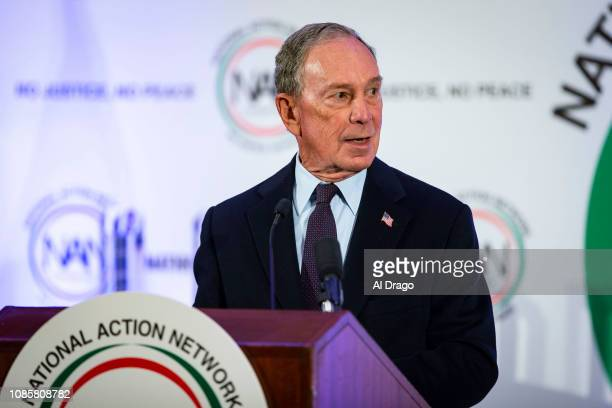 Former New York City Mayor Michael Bloomberg speaks during the National Action Network Breakfast on January 21 2019 in Washington DC Martin Luther...