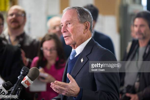 Former New York City Mayor Michael Bloomberg speaks with the media after touring the WH Bagshaw Company during an exploratory trip on January 29 2019...