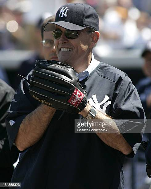 Former New York City mayor Rudolph Giuliani is honored at the spring training game between the Pirates and the Yankees on March 18 2007 at Legends...