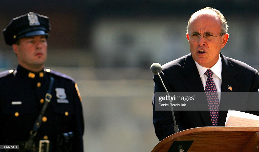 Former New York City Mayor Rudolph Giuliani speaks as he makes a tribute to the victims of the terrorist attacks of 2001 on September 11, 2005 in New York City. This is the fourth anniversary of the September 11th attacks.