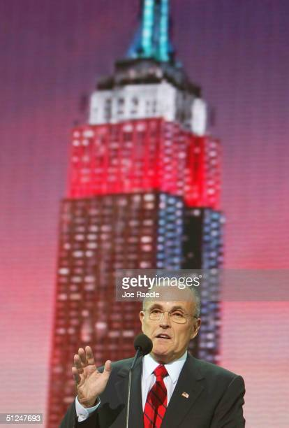 Former New York City Mayor Rudolph Giuliani speaks during the evening session of day one of the 2004 Republican National Convention August 30 2004 at...