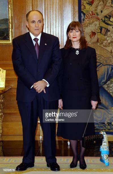 Former New York City Mayor Rudolph W Giuliani and his girlfriend Judith Nathan wait for King Juan Carlos at Zarzuela Palace November 25 2002 in...