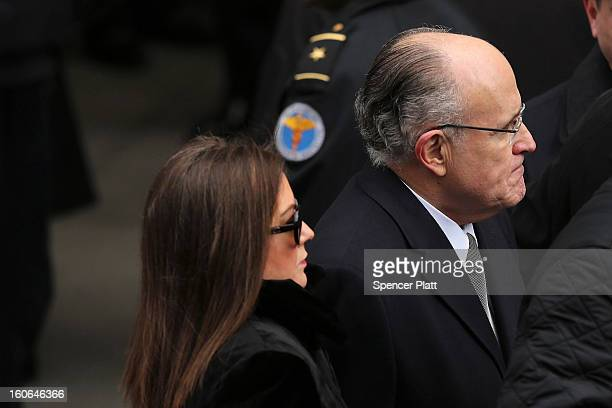 Former New York City Mayor Rudy Giuliani and his wife Judith Nathan attend funeral services for former New York City Mayor Ed Koch at Manhattan's...