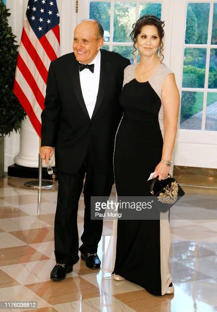 Former New York City Mayor Rudy Giuliani and Maria Ryan arrive for the State Dinner at The White House honoring Australian PM Morrison on September...