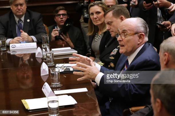 Former New York City Mayor Rudy Giuliani delivers remarks during a cyber security meeting with White House Chief Strategist Steve Bannon Vice...
