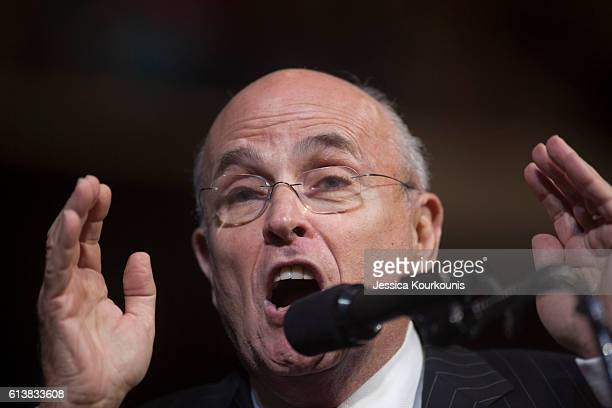 Former New York City mayor Rudy Giuliani speaks at a campaign rally for Republican presidential nominee Donald Trump on October 10 2016 in...