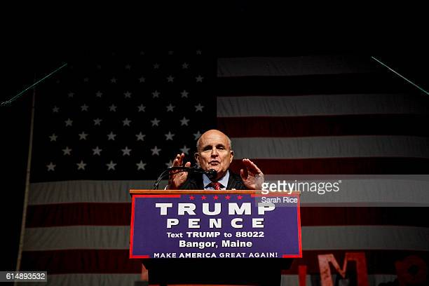 Former New York City mayor Rudy Giuliani speaks at a rally for Republican presidential candidate Donald Trump at Cross Insurance Center on October 15...