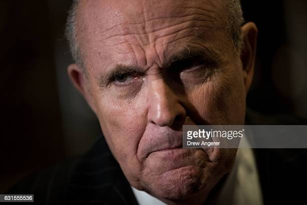 Former New York City Mayor Rudy Giuliani speaks to reporters at Trump Tower January 12 2017 in New York City Presidentelect Trump continues to hold...