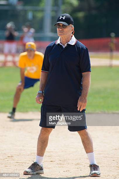 Former New York City Police Commissioner Ray Kelly umpires the Hampton Artists vs Writers 67th Annual Softball Game at Herrick Park on August 15 2015...