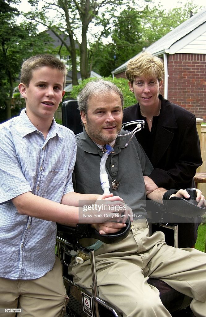 Former New York City police officer Steven McDonald at home with wife Patti and son Connor. McDonald was paralyzed in 1986 after being shot three times by a teen in Central Park.