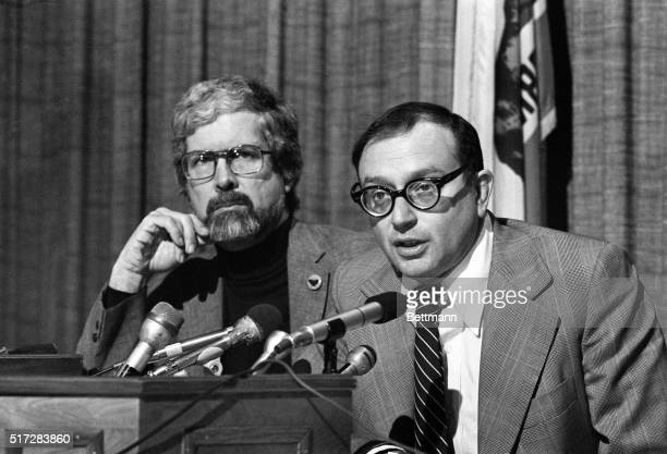 Former New York Congressman Allard K Lowenstein and Paul Schrade team up at a Los Angeles Press Club news conference to again urge reopening of the...