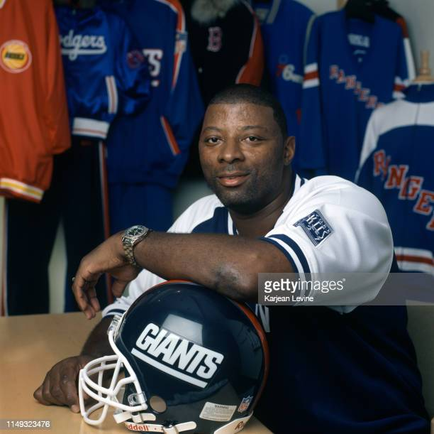 Former New York Giants linebacker Carl Banks, currently Vice President of licensing at G-III Apparel Group, poses for a portrait in a showroom on...