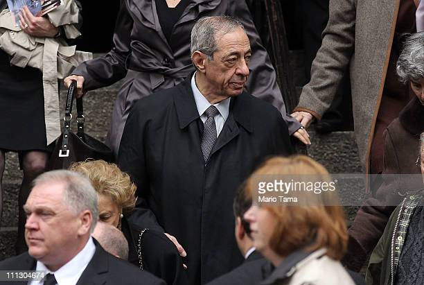 Former New York Governor Mario Cuomo departs the Church of Saint Vincent Ferrer where a funeral mass was held for former vice presidential candidate...