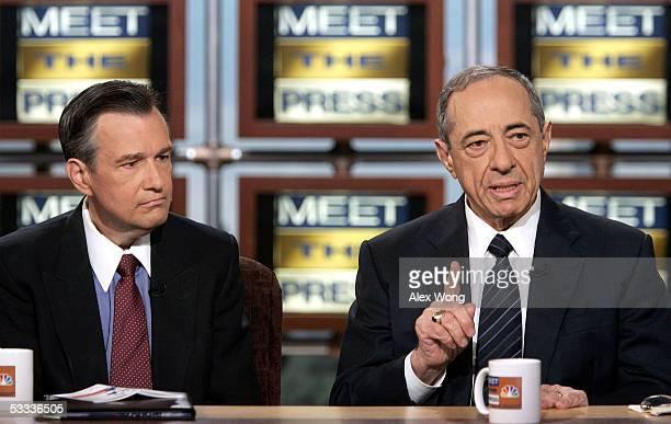 Former New York Governor Mario Cuomo speaks as Professor Douglas Kmiec of Pepperdine University listens during an interview on NBC's 'Meet the Press'...